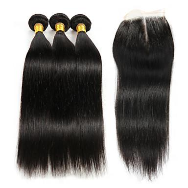 3 Bundler Med Afslutning Brasiliansk hår Kinky Curly Remy hår Hårstykke med lukning 8-26 inch Menneskehår Vævninger 4x4 Lukning Menneskehår Extensions