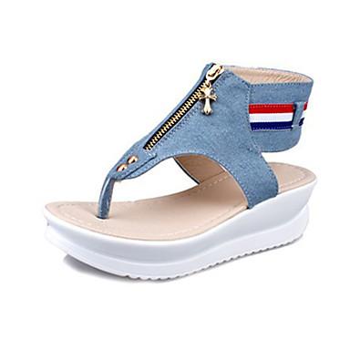 Mulheres Sapatos Lona Verão Sandálias Salto Plataforma para Casual Azul Escuro Azul Claro