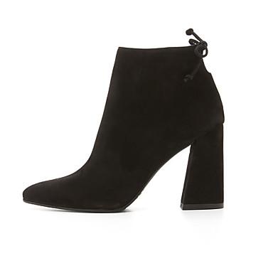 Pour Femme Kaki Bottine Hiver 05061228 Demi Fermeture Chaussures Botte Lacet Automne Talon Habillé Daim Gros Noir q6C1rPqw