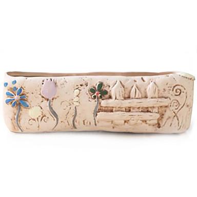 kreativ hage sement håndverk interiørtrenden dekorasjon kunstige blomster vaser / blomsterpotte