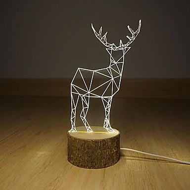 3 ד הוביל אור בלילה deerlet מנורת שולחן אווירת מתנת מנורת חזון