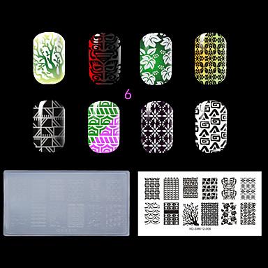 1pc Kunststoff klar weiß Umweltnagelprägevorlage mit lastest Art (kd-sm612-006)
