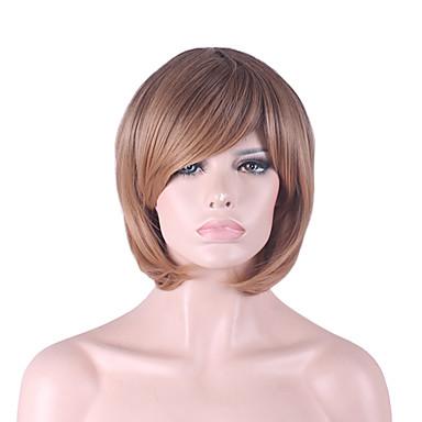 Syntetiske parykker Dame Lige / Kinky Glat Brun Assymetrisk frisure Syntetisk hår Natural Hairline Brun Paryk Kort Lågløs