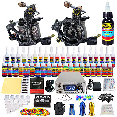 Solong Tattoo Tattoo Machine Starter Kit, 2 pcs Tattoo Machines with 40 x 5 ml tattoo inks - 2 alloy machine liner & shader