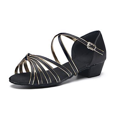 Chaussures de danse(Noir) -Personnalisables-Talon Plat-Satin / Cuir-Latine / Moderne