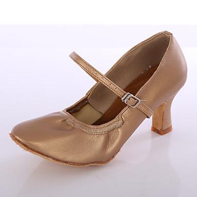 Mujer Zapatos de Baile Latino Semicuero Tacones Alto Hebilla Tacón Personalizado Personalizables Zapatos de baile Negro / Plata / Marrón