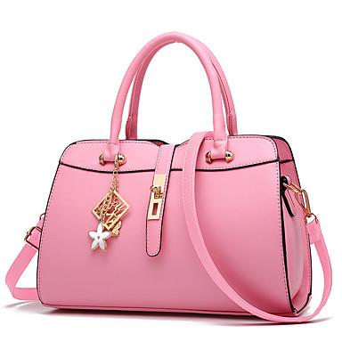 女性 バッグ 秋 PU ショルダーバッグ ラッフル のために ショッピング カジュアル フォーマル ブラック ダークブルー フクシャ ピンク ワイン