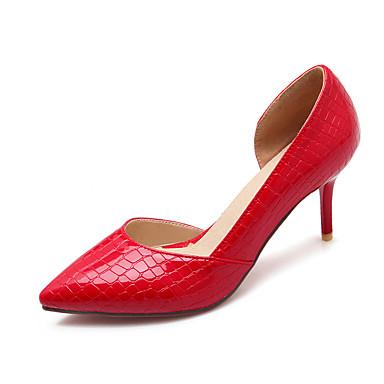 Damen Schuhe Lackleder Sommer Herbst Komfort Stöckelabsatz Ausgehöhlt für Normal Büro & Karriere Kleid Weiß Schwarz Rot