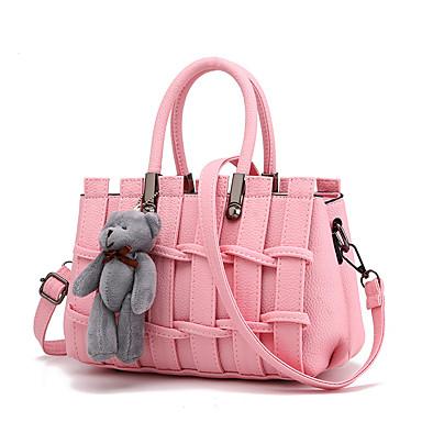 Mulher Bolsas Couro Ecológico Bolsa de Ombro Fru-Fru para Compras Casual Formal Outono Bege Rosa claro Rosa escuro Cinza Claro Lavanda