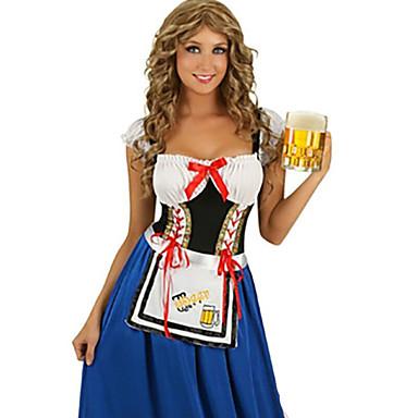 Siivujan asut Oktoberfest Cosplay-Asut Juhla-asu Naiset Halloween Oktoberfest Festivaali/loma Halloween-asut Patchwork