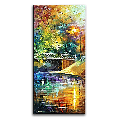 Håndmalte Landskap Lodrett,Klassisk Stil Moderne Tradisjonell Realisme Middelhavet Parfymert Europeisk Stil Lerret Hang malte oljemaleri
