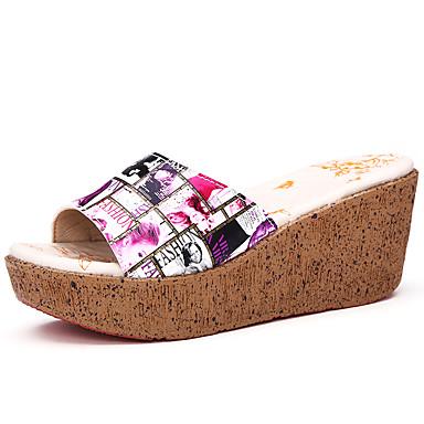 Damen Sandalen Komfort PU Sommer Schnalle Keilabsatz Grau Rot Flach