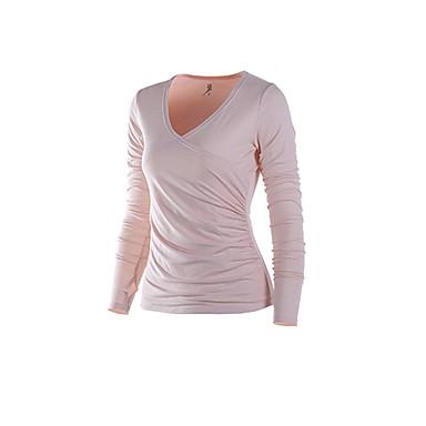 Damen Laufshirt Langarm Rasche Trocknung Schweißableitend T-shirt für Yoga Übung & Fitness Laufen Weiß Leicht Rosa XS S M L