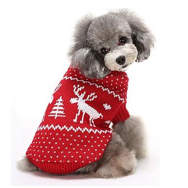 Kat Hund Gensere Hundeklær Reinsdyr Rød Blå Bomull Kostume For kjæledyr Herre Dame Hold Varm Jul