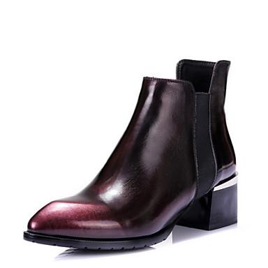 Damer Støvler Militærstøvler Efterår laklæder Formelt Tyk hæl Bourgogne 5-7 cm