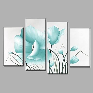 Hånd-malede Abstrakt Landskab Sille Liv Blomstret/Botanisk Oliemalerier,Moderne Parfumeret Fire Paneler Kanvas Hang-Painted OliemaleriFor