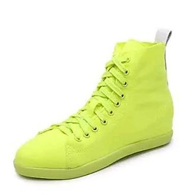 Støvler-Kanvas-Komfort-Dame-Grøn Lilla Rød Hvid-Udendørs-Flad hæl