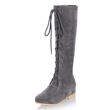 Støvler-Kunstlæder-Ridestøvler-Dame-Sort Gul Grå-Formelt Fritid-Kilehæl