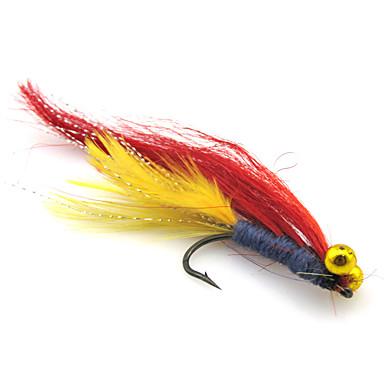 4 Stück Angelköder Fliegen Weiche Fischköder / Gummifische Feder Nylon Kohlestahl Seefischerei Fliegenfischen Angeln Allgemein