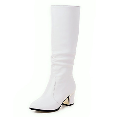 voordelige Dameslaarzen-Dames Laarzen Blokhak Kunstleer 30.48-35.56 cm / Knielaarzen Modieuze laarzen Herfst / Winter Wit / Zwart / EU41