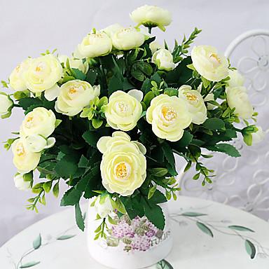 1pc 1 Afdeling Polyester / Plastik Camellia Bordblomst Kunstige blomster 12.2inch/31CM