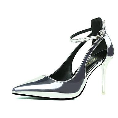Damen Schuhe PU Sommer High Heels Stöckelabsatz Schnalle für Büro & Karriere Weiß Schwarz Silber Grau Rot