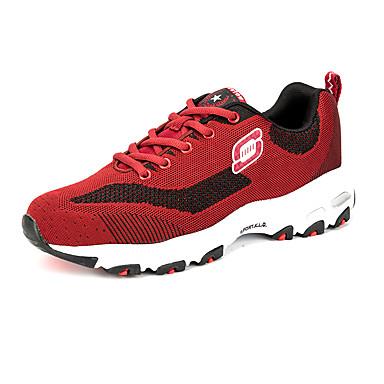 Sneakers-Tyl Mikrofiber-Komfort-Herre-Sort Blå Rød-Udendørs Fritid Sport-Flad hæl