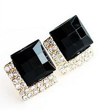Feminino Brincos Curtos Cristal Moda Jóias de Luxo Imitações de Diamante Liga Quadrado Jóias Para Diário Casual