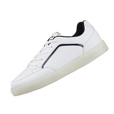 Masculino-Tênis-Conforto-Rasteiro-Preto Vermelho Branco-Couro Ecológico-Casual