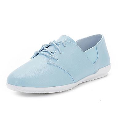 Dames Schoenen Microvezel Lente Zomer Herfst Comfortabel Platte schoenen Wandelen Platte hak Veters voor Causaal Formeel Wit Blauw Roze