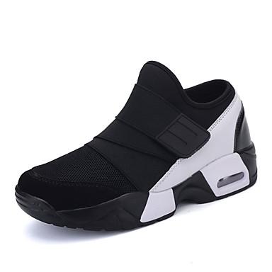 Damer Sneakers Komfort Tyl Stof Forår Efterår Komfort Snøring Flad hæl Sort Sort/Rød Sort/Hvid Flad
