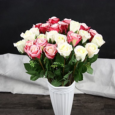 1 ブランチ ポリエステル プラスチック バラ テーブルトップフラワー 人工花