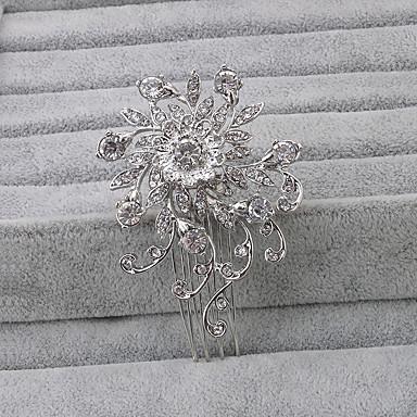 Strass Pentes de cabelo Decoração de Cabelo with Floral 1pç Casamento Ocasião Especial Escritório e Carreira Capacete