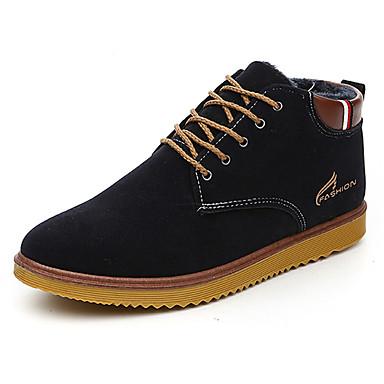 Herrn Schuhe Leder Frühling Herbst Knöchelriemen Komfort Sneakers Walking Flacher Absatz Schnürsenkel für Normal Draussen Schwarz Blau