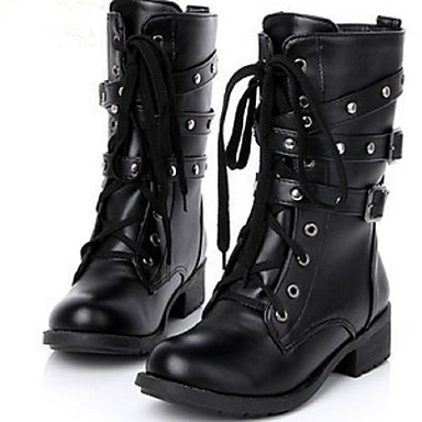 Støvler-PU-Combat-støvler / Modestøvler-Dame-Sort-Udendørs / Hverdag / Sport-Flad hæl