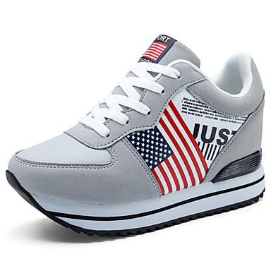 povoljno Ženske cipele-Žene Sneakers Wedge Heel Vezanje Brušena koža Tenisice platforme / Udobne cipele Hodanje Proljeće / Ljeto / Jesen Crn / Sive boje