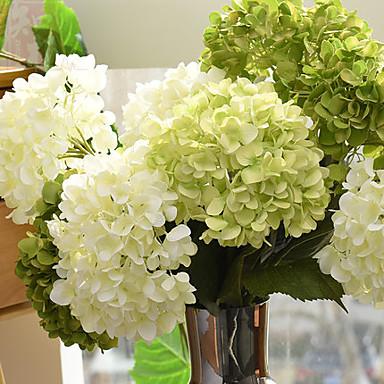 Kunstige blomster 1 Gren Enkel Stil Hortensiaer Bordblomst