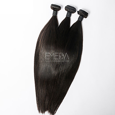 3pcs/Lot Virgin Peruvian Hair Silk Straight Human Hair Extensions Natural Black 8''-30'' Hair Weaves Bundles
