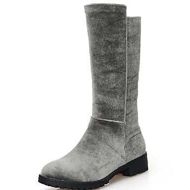 Støvler-Kunstlæder-Modestøvler-Dame-Sort / Brun / Grå-Udendørs / Kontor / Hverdag-Lav hæl