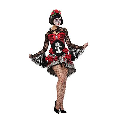 Spookachtige bruid Cosplay Kostuums Feestkostuum Dames Halloween Dag van de Doden Festival / Feestdagen Halloweenkostuums Zwart/rood Kant