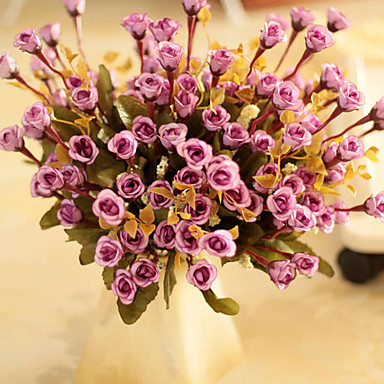 1pc 1 Afdeling Polyester / Plastik Roser Bordblomst Kunstige blomster 14.1inch/36CM