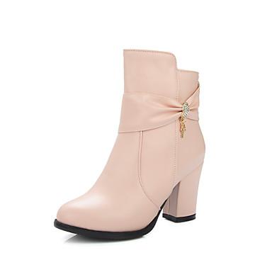 Feminino Sapatos Courino Inverno Primavera Outono Curta/Ankle Botas da Moda Botas Caminhada Salto Robusto Salto de bloco para Casual