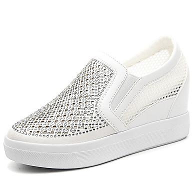 Loafers og Slip-ons-Glitter-Komfort-Dame-Sort Hvid-Fritid Sport-Flad hæl