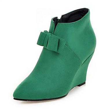 Støvler-Fleece-Modestøvler-Dame-Sort / Grøn / Rosa-Bryllup / Udendørs / Fest/aften / Formelt / Hverdag-Kilehæl