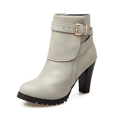 Støvler-Kunstlæder-Hæle / Modestøvler-Dame-Sort / Rød / Grå-Udendørs / Kontor / Hverdag-Tyk hæl