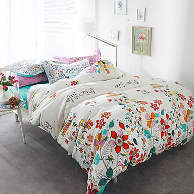 Blumen Bettbezug-Sets 4 Stück Baumwolle Muster Reaktivdruck Baumwolle ca. 1,50 m breites Doppelbett1 Stk. Bettdeckenbezug / 2 Stk.