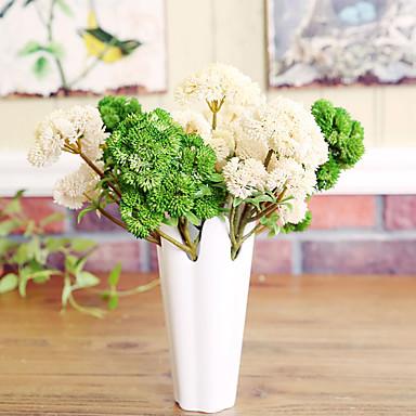 1 1 Afdeling Polyester / Plastik Planter Bordblomst Kunstige blomster 13.7*0.98inch/35*2.5cm