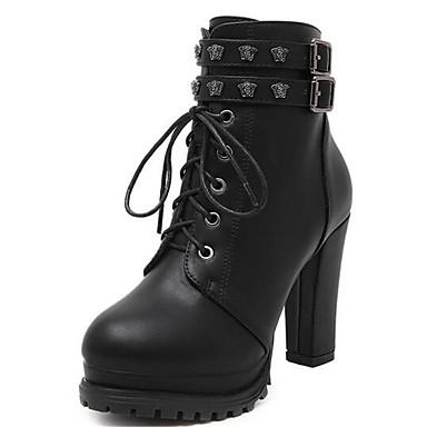 Støvler-Kunstlæder-Ridestøvler-Dame-Sort-Udendørs Fritid-Tyk hæl