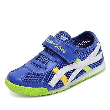 Drenge Sneakers Komfort Tyl PU Sommer Atletisk Afslappet Komfort Flettet bånd Magisk tape Flad hæl Mørkeblå Marineblå Flad