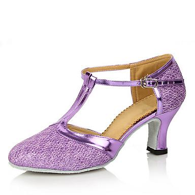 Dame Moderne sko Glimtende Glitter Høye hæler Spenne / Uthult Kustomisert hæl Kan spesialtilpasses Dansesko Brun / Gylden / Lyseblå / Innendørs / Ytelse